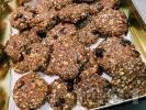 Рецепта Коледни бисквитки (сладки) с овесени ядки, боровинки и протеин на прах
